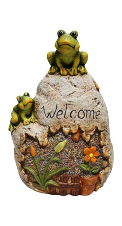 Alpine - Welcome Sign Rock with Frog Garden Statue - Add a fun look to your landscape with these delightful garden statuaries. You can group them in your walkway, garden and pond or use individually around your deck or patio. These unique figures are made with the precision of fine detailed craftsmanship to make a one of a kind product.Features: