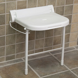 Large Wall-Mount Folding Shower Seat with Legs - White - Providing comfort and support, this Large Wall-Mount Folding Shower Seat with Legs conveniently folds up for storage when not in use. Support legs add extra stability and can hold up to a maximum of 350 lbs.