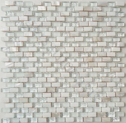 Contemporary Tile Sugar Island Uniform Brick White Backsplash Glossy & Frosted Glass Stone & Shell