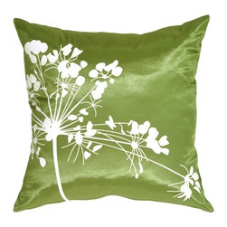 Pillow Decor - Pillow Decor - Green with White Spring Flower Throw Pillow - A large floral print, contrasted beautifully against smooth, shimmery fabric. Clean contemporary lines and colors give these throw pillows a current look. Refresh your decor with these stunning pillows. So easy to mix and match, the possibilities are endless!