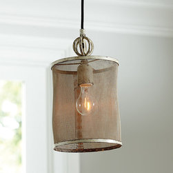 Ballard Designs - Geneva 1-Light Pendant - Hand crafted with intentional indentations and uneven texture. No two are exactly alike. Dark espresso undertones. Looks great with vintage-style bulbs, LI059 (sold separately). Get the rustic-chic look with our Geneva Pendant. Fine mesh drum shade encircles a single bulb, softly filtering the light. Antiqued metal details and a heavily distressed ivory finish give this fixture vintage charm.Geneva Pendant features: . . . .