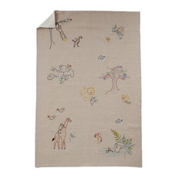 Coyuchi - Critter Embroidered Linen Blanket Baby Natural w/Multi - Embroidered by hand with lions, giraffes, monkeys and more, our soft linen blanket will inspire endless bedtime stories. It's backed with velvety brushed cotton, so it's lightweight, yet cozy.