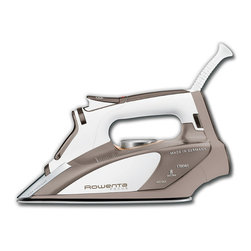 Frontgate - Rowenta Focus Iron - Stainless steel soleplate. 3-way automatic shut-off. Comfortable, ergonomic handle. Large soft-touch rear to place iron at rest. Covered filling inlet to prevent spilling and spotting. Perfectly press apparel, linens, and fabrics with the Rowenta Focus Iron. 400 microsteam holes distribute steam more evenly than ever for a reliably smooth result while a high precision tip allows easier access to hard-to-reach areas.  .  .  .  .  . Made in Germany.