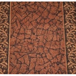"""Dean Flooring Company - Dean Washable Carpet Rug Runner - Garden Path Terra Cotta - Sold by the Foot - Dean Custom Length Washable Carpet Rug Runner - Garden Path Terra Cotta - Sold by the Linear Foot : This runner is sold here by the linear foot. One unit of quantity equals one foot of length on your runner. Width - Approximately 26"""". These beautiful carpet runners match our Dean Flooring Company stair treads. This item will be finished (serged with color matching yarn) on all four sides regardless of the length. It is made from nylon with a washable non-skid rubber back. Please enter the length in feet that you want your runner to be in the quantity field when you check out. Please enter separate orders if you want more than one runner."""