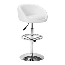 ZUO - Concerto Barstool - White - The glamorous Concerto Barstool doesn't skimp on comfort. Features a leatherette seat, adjustable footrest, and chrome plated steel base. Both the technology and the aesthetic would make the Jetson family feel right at home.