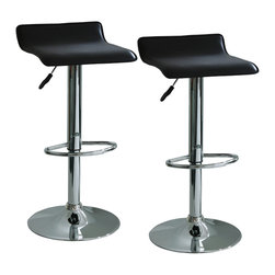 Buffalo Tools - AmeriHome 2 Piece Adjustable Height Bar Stool Set - 2 Piece Adjustable Height Bar Stool Set by AmeriHome The AmeriHome 2 Piece Adjustable Height Bar Stool Set brings a touch of the casual contemporary to complete any room.  The textured vinyl seat is ideal for kitchen spaces as well as bars, game rooms, and basements.  The sleek polished chrome base with foot rest is unobtrusive and allows for comfortable leg room.  The padded seat is designed for comfort with the wide 15.5 inch seat that swivels 360 degrees and has an adjustable height of 21.5 to 29.5 inches.  All these features create an idyllic bar stool for all ages. Includes 2 black adjustable height bar stools Adjustable seat height from 21.5 to 29.5 inches Maximum seat back height of 33.5 in. 15.5 in. square padded black vinyl, 360 degree swivel seat 200 lbs. weight capacity