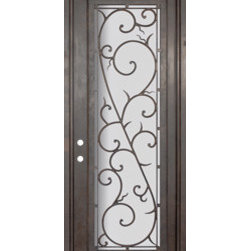 "Bellagio 36x96 Wrought Iron Single Door 14 Gauge Steel - ""SKU#    PHBFLSR4Brand    GlassCraftDoor Type    ExteriorManufacturer Collection    Buffalo Forge Steel DoorsDoor Model    BellagioDoor Material    SteelWoodgrain    Veneer    Price    3850Door Size Options      $Core Type    one-piece roll-formed 14 gauge steel doors are foam filled  Door Style    TraditionalDoor Lite Style    Full LiteDoor Panel Style    Home Style Matching    Mediterranean , Victorian , Bay and Gable , Plantation , Cape Cod , Gulf Coast , ColonialDoor Construction    Prehanging Options    PrehungPrehung Configuration    Single DoorDoor Thickness (Inches)    1.5Glass Thickness (Inches)    Glass Type    Double GlazedGlass Caming    Glass Features    Insulated , TemperedGlass Style    Glass Texture    Clear , Glue Chip , RainGlass Obscurity    Door Features    Door Approvals    Wind-load RatedDoor Finishes    Three coat painting process"