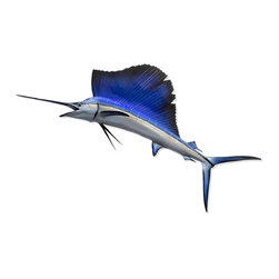 Kathy Kuo Home - Bayonet Coastal Beach Blue Sailfish Grand Wall Decor - by Karen Robertson - Fishing for compliments? Actually, since you were the one who landed this magnificent life casting of a sailfish, you deserve all the kudos that come your way.