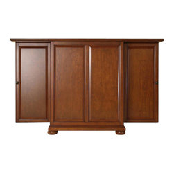 Crosley Furniture - Crosley Furniture Alexandria Expandable Bar Cabinet in Classic Cherry Finish - Crosley Furniture - Home Bars - KF40001ACH - Constructed of solid hardwood and wood veneers this Expandable Bar Cabinet is designed for longevity. The beautiful raised panel doors provide the ultimate in style to dress up your home. The doors open and top folds out to double the size of your entertaining / serving area. Inside the doors you will find plentiful storage space for spirits glassware and a host of other bar items. The center cabinet features 16 bottle wine storage utility drawer hanging stemware storage and extra space for a variety of other barware.