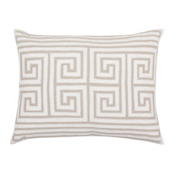 """Callisto - Metis Greek Key Natural Throw Pillow - Marked by the style of ancient history, the Rhea Greek Key throw pillow lends a classic look to the living room or bedroom. Its labyrinth pattern shines in sophisticated natural brown and cream, lined with a modern seed bead trim that adds a luxurious texture. Layer this decorative pillow with contrasting colors and styles for an inviting space with depth and dimension. Made from 100% linen and 100% cotton; hidden zipper closure. Dry clean only. 20"""" x 26"""". Includes 95/5 feather down insert."""