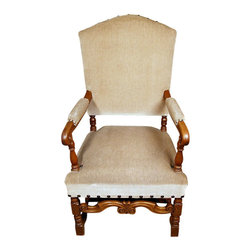 Antiques - Vintage Solid Oak Cream Upholstered Arm Chair - Country of Origin: Holland