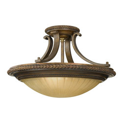 Murray Feiss - Murray Feiss Kelham Hall Traditional Semi Flush Mount Ceiling Light X-BRB/GF262F - If you're looking for something with European flair, look no further than the Kelham Hall traditional semi-flush mount ceiling light by Murray Feiss. The fluted India scavo glass shade and curved arms in a Firenze gold/British bronze finish accented with classic details creates an impressive and eye-catching design.