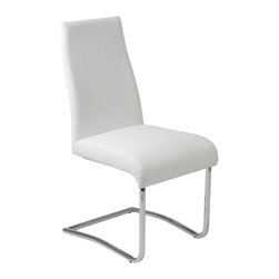 Euro Style - Rooney Low Back Side Chair (Set Of 2) - White Leatherette/Chrome - Even though it's made for sitting, the Rooney chair is a standout!  Incredibly comfortable leatherette over foam, this armless dining chair is perfect around the table, especially when you want room for everybody!