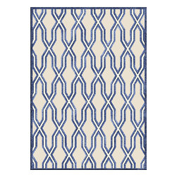 Custom Cool - Criss Cross Rug Handknotted 5'x7' Navy, Ivory, Blue & Beige - Woven in the subtlest shade of pink with accents of white, grey and navy our classic Criss Cross design will add a comfortable sophistication to your home.   Hand knotted by highly skilled Nepalese weavers utilizing techniques passed on through the ages, this Silk and Nettle rug has an easy, clean glamour.
