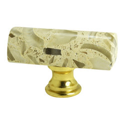 """Pierre Habitat - Architectural Cabinet Knobs H - Make all your home cabinetry """"pop"""" with these stylish Architectural Cabinet knobs H from Pierre Habitat. Made with recycled glass that is totally green and sustainable. These pulls not only look good, they are good - for both you and the planet.  Planet-Friendly Hardware designed for you by Pierre Habitat. Sold Single."""