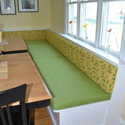 Banquettes - Banquette upholstery for a beach house in Avalon, NJ.  Both fabrics are indoor/outdoor by Bella-Dura.  The seat cushions divisions were made to accommodate access to under bench storage.  The backs are two continuous runs.