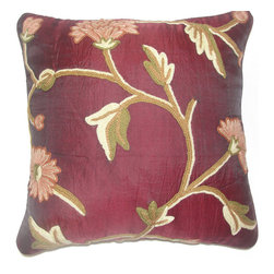 Crewel Fabric World - Crewel Pillow Wintertime Burgundy Silk Organza 16x16 Inches - Hand embroidered with 100% wool on cotton base
