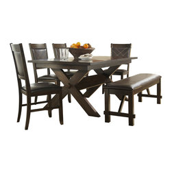 Homelegance - Homelegance Roy 7-Piece Trestle Dining Room Set in Dark Espresso - The classic lines of your favorite outdoor dining table have been modernized and moved inside in the Roy collection. Birch veneers give the table a modern rustic look and are enhanced with a dark espresso finish. The dark brown bi-cast vinyl that covers the chair seats, backs and bench are complimented by contrast double stitching and feature wood framing. The x-trestle base continues the theme, rounding out the collection to be the perfect addition to your casual dining space.