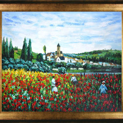 "overstockArt.com - Monet - Poppy Field near Vetheuil Oil Painting - 20"" x 24"" Oil Painting On Canvas Hand painted oil reproduction of a famous Monet painting, Poppy Field near Vetheuil. Today it has been carefully recreated detail-by-detail, color-by-color to near perfection. While Monet successfully captured life's reality in many of his works, his aim was to analyze the ever-changing nature of color and light. Known as the classic Impressionist, one can not help but have deep admiration for his talent. This work of art has the same emotions and beauty as the original. Why not grace your home with this reproduced masterpiece? It is sure to bring many admirers!"