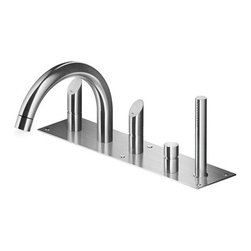 MGS - MGS | MGS Five Hole Deck-Mounted Tub Filler CB500 - Made in Italy by MGS Faucets.A part of the Contemporary Beauty Collection. The MGS Five Hole Deck-Mounted Tub Filler With Pop-Up Drain CB500 combines modern amenities with classic Italian design. Complete with an arched faucet, two ergonomic handles, and a sleek handshower, this deck-mounted tub filler satisfies all bathing needs and suits bathtubs of any size and style. Enjoy a thorough cleanse each time you bathe with this faucet's ample water pressure, leaving you feeling fresh and rejuvenated. Select from a matte or polished stainless steel finish to complete your bath ambiance. Product Features: