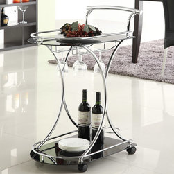 Coaster Contemporary Serving Cart, Black/Chrome - This contemporary service cart would be great for parties and other large events. But it's also great for open storage in the kitchen.