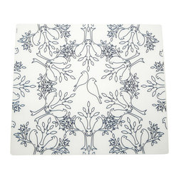 Modern-twist - Placemat - Birds n Trees, Indigo - Made from hand silk-screened, food-grade silicone, the Modern-twist placemat is available in botanical, nature-inspired and other beautiful patterns. Easy-to-clean, non-porous, germ-free surface.
