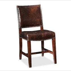 """Manchester Side Chair, Espresso stain Frame with Antique Dark Brown Leather Upho - Straight lines and simple details distinguish our Spanish Mission-style chair. With tapered square legs and a gently pitched back, it's firmly cushioned for comfort. 18"""" wide x 23"""" deep x 36.5"""" high Expertly crafted of ash and rubberwood and finished by hand. Upholstered in the finest-quality top-grain leather, everydaysuede(TM) or linen. View our {{link path='pages/popups/fb-dining.html' class='popup' width='480' height='300'}}Furniture Brochure{{/link}}."""