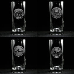 """Crystal Imagery, Inc. - Lake House Mountain Lodge Cocktail Glasses, Engraved - Wildlife Animals Highball Glasses. Engraved nature lover cocktail glass, cooler glass set includes bear, deer, fish and duck and is a great gift idea for the man or woman who loves animals, hunting, fishing and the great outdoors. Deeply carved using our sand carving technique, each highball glass is meticulously custom made to order making it the perfect gift for those seeking unique gift ideas for the mixed drink lover, men and women alike.  Seeking a gift for your mountain retreat, lodge or cabin? This wildlife set would be ideal. This highball glass set is also perfect for the man cave or basement bar.  Our 15 oz. cooler measures 6.25"""" tall by 3"""" wide. Made in the USA. Dishwasher safe."""