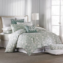 Barbara Barry - Barbara Barry Poetical Duvet Cover in Celadon - A crisp color palette and lovely floral pattern bring a fresh look to your bedroom. The soft and comfortable duvet cover with button closures conveys timeless elegance with a touch of modern whimsy.