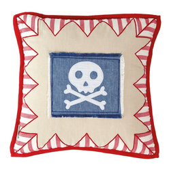 """Wingreen - Appliqued Cushion Cover - Pirate Shack - Our Pirate Cushion Cover is appliqued and embroidered with """"Bert"""", our friendly skull and crossbones! Finished with a red stripe 'bunting-style' border and red trim."""