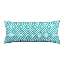 "LaCozi - ""ShaSha"" Aqua and White Body Pillow Cover - What a body! This intricately patterned cover, made of 100 percent cotton, just made your favorite 20-by-54-inch pillow more fun to hug."