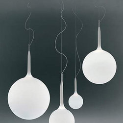 """Artemide - Artemide Castore pendant light - The Castore suspension light fromArtemide has been designed by Michele De Lucchi. This cable suspended luminaire is great for diffused incandescent or halogen lighting. The Castore is composed of steel tubing that is covered by a tapered sleeve in white translucent polycarbonate, allowing for partial soft diffusion of light from the difffuser. The Castore's diffuser is constructed of white handblown glass that has an external etched finish. This suspension light is also available in four sizes: small, medium, large and extra large. The Castore suspension light exemplifies elegance and craftsmanship that will fit beautifully into any contemporary environment. UL listed.  Product Description:  The Castore pendant light from Artemide has been designed by Michele De Lucchi. This cable suspended luminaire is great for diffused incandescent or halogen lighting. The Castore contemporary lighting is composed of steel tubing that is covered by a tapered sleeve in white translucent polycarbonate, allowing for partial soft diffusion of light from the diffuser. The Castore's diffuser is constructed of white hand-blown glass that has an external etched finish. This suspension light is also available in four sizes: small, medium, large and extra-large. The Castore pendant light exemplifies elegance and craftsmanship that will fit beautifully into any modern environment. UL listed.  All sizes are in stock!  Details:     Manufacturer:  Artemide   Designer:  Michele De Lucchi   Made in: Italy   Dimensions:   Small: Height: max 78.75"""" (200cm) X Width: 5.5"""" (14cm)   Medium: Height: max 87.5"""" (222cm) X Width: 10"""" (25cm)   Large: Height: max 87.75"""" (223cm) X Width: 13.75"""" (35cm)   Extra large: Height: max 98"""" (249cm) X Width: 16.5"""" (42cm)     Light bulb:   Small: 1 X 60W halogen   Medium: 1 X 100W halogen or 1 X 100W incandescent   Large & Extra large: 1 X 150W halogen or 1 X 150W incandescent     Material  handblown glass, polycarbonate, stee"""