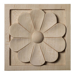 """Ekena Millwork - 5 1/8""""W x 5 1/8""""H x 1""""D Large Medway Rosette, Cherry - Our rosettes are the perfect accent pieces to cabinetry, furniture, fireplace mantels, ceilings, and more.  Each pattern is carefully crafted after traditional and historical designs.  Each piece is carefully carved and then sanded ready for your paint or stain.  They can install simply with traditional wood glues and finishing nails."""