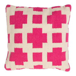"Jaipur Rugs - Pink/Ivory color cotton thunder poly fill pillow 18""x18"" - Corsica are flatweave dhurri styled pillows in pastels and bright colors to liven any d�cor."