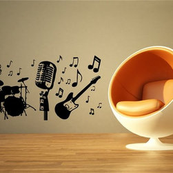 MUSIC INSTRUMENTS GUITAR DRUM NOTE WALL VINYL STICKER DECALS ART MURAL - Create your style. Stylize your world with vinyl stickers!