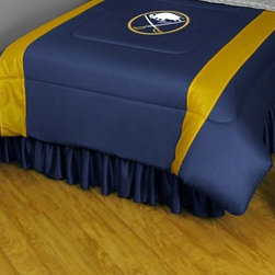 Sports Coverage - Buffalo Sabres NHL Bedding - Sidelines Comforter - Twin - Show your team spirit with this great looking officially licensed Buffalo Sabres comforter which comes in a new design with sidelines. This Buffalo Sabres comforter is made from 100% Polyester Jersey Mesh - just like what the players wear. The fill is 100% Polyester batting for warmth and comfort. Featuring authentic Buffalo Sabres team colors, each comforter has the authentic Sabres logo screen printed in the center. Soft but durable. Machine washable in cold water. Tumble dry in low heat. Each comforter has the team logo centered on solid background in team colors. 5.5 oz. Bonded polyester batts. Looks and feels like a real jersey!