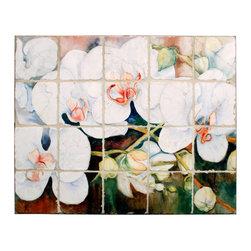 "Tile Art Gallery - Splash Decor Tile Mural - Joanne Porter - Stem of Orchids - Splash Decor allows you to interchange mural scenes with just a pull and lift motion. Now you can change scenes for holidays, seasons, or just whenever you feel like redecorating. This tumbled marble stone tile mural titled ""Stem of Orchids"" is depicted by artist Joanne Porter and is a beautiful compliment to any kitchen or bar tiled backsplash."