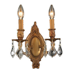"Worldwide Lighting - Windsor 2 Light French Gold Finish and Clear Crystal Wall Sconce Light 9"" W - This stunning 2-light chandelier only uses the best quality material and workmanship ensuring a beautiful heirloom quality piece. Featuring a cast aluminum base in french gold finish and all over clear crystal embellishments made of finely cut premium grade 30% full lead crystal, this wall sconce will give any room sparkle and glamour. Worldwide Lighting Corporation is a privately owned manufacturer of high quality crystal chandeliers, pendants, surface mounts, sconces and custom decorative lighting products for the residential, hospitality and commercial building markets. Our high quality crystals meet all standards of perfection, possessing lead oxide of 30% that is above industry standards and can be seen in prestigious homes, hotels, restaurants, casinos, and churches across the country. Our mission is to enhance your lighting needs with exceptional quality fixtures at a reasonable price."