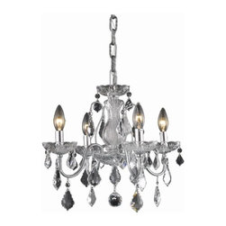 "PWG Lighting / Lighting By Pecaso - Christiane 4-Light 17"" Crystal Chandelier 1713D17C-EC - Reminiscent of classic Crystal Chandeliers, the Christiane series brings the past to life in today's homes with stunning crystal pendalogues and crystal bobeches on Gold or Chrome frames."