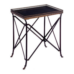 IMAX Worldwide Home - Rectangular Accent Table - Traditional style. Cast metal and metal tubing. Made from 40% wrought iron and 60% cast iron. Black color. 21 in. W x 14.5 in. D x 25.25 in. H (30.4 lbs.)
