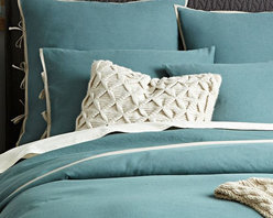 Linen Cotton Duvet Cover + Shams, Storm Bay - Change the look of your bedroom with this turquoise shade. It would look beautiful with grays, yellows or browns.