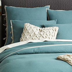 Linen Cotton Duvet Cover + Shams, Storm Bay