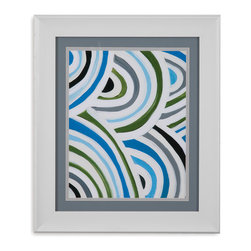 Bassett Mirror - Bassett Mirror Framed Under Glass Art, Swirly Bob I - Swirly Bob I