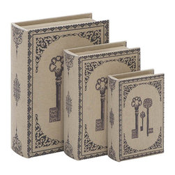 Benzara - Library Storage Books - Wood Fabric Box - Set of 3 13in., 11in., 8in.H - Set of 3 _ 13 in. , 11 in. , 8 in.  H Wooden Box Fabric Lining