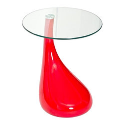 Modern Red Side Table Morning - Red Side Table Morning features sturdy glossy red ABS (thermoplastic) base and 8mm clear tempered glass top. Modern look, sharp softy curved lines, clean design.