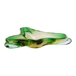 Murano - Consigned Emerald Murano Glass Ashtray - To the rescue! Luscious green glass for when you're blue. This emerald green Murano glass ashtray has a striking form and bold color. Smoking may be out of style but your great taste in Mid-Century design never will be. Use it for business cards, trinkets or jewelry.