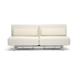 Cream Fabric 2-Seat Sofa Chair Convertible Set