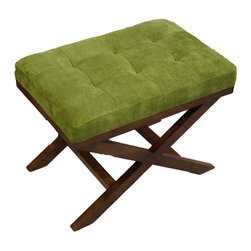 JR Home Products Ltd. - Upholstered X-Leg Ottoman, Olive Green - Relax and put your feet up! The tufted x-leg ottoman offers unmatched comfort and versatility. The kiln dried solid wood frame provides a stable and durable structure. The legs are double coated to hold up better to daily wear and tear, while high grade foam and fiber fill offer unsurpassed comfort. The mid-century inspired cord fabric meets Oeko-Tex Standard 100; ensuring the fabric is free from allergenic dyestuffs, pesticides, heavy metals, formaldehyde, and offers a skin friendly PH.