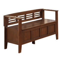 "Simpli Home - Adams 48 inch wide Entryway Bench in Medium Rustic Brown - A good first impression is always important...we understand. We designed the Adams Storage Bench to make sure that the entrance to your home is something you can be proud of. This stylish bench allows your inner designer to shine through while creating added storage and seating for your entryway or mudroom. ""Form follows function"" design rules apply here as the bench features a convenient flip up lid allowing for easy retrieval of articles from the dual storage compartment below. ."