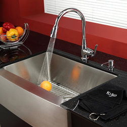 Kraus - Kraus Kitchen Combo Set Stainless Steel 30-inch Farmhouse Sink/Faucet - Renovate your kitchen and include this large,undivided stainless steel sink for a more functional space. The premium grade steel is scratch resistant and has a smooth satin finish. The padded undercoating reduces noise while dishes are washed.